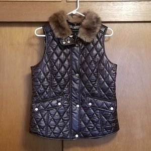 Talbots Brown Puffer Vest with Faux Fur Collar
